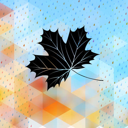 Geometric background card with maple leaf Vector