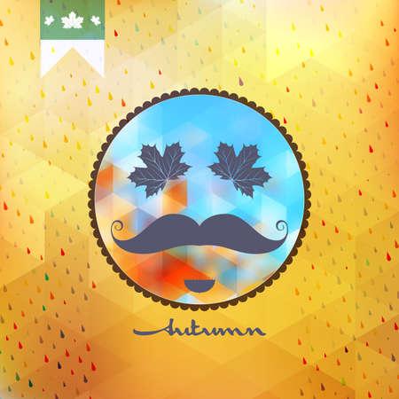 Autumn mustache style poster design Vector