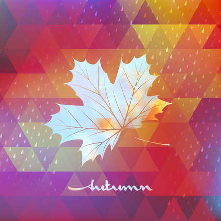 Geometric background card with maple leaf.  Vector