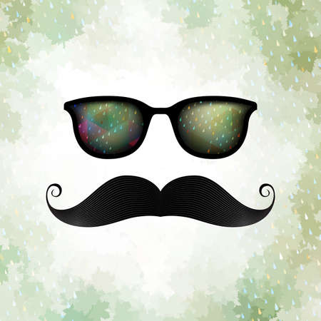 Retro glasses with reflection Vector
