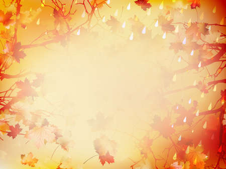 Autumnal Background with maple leaves