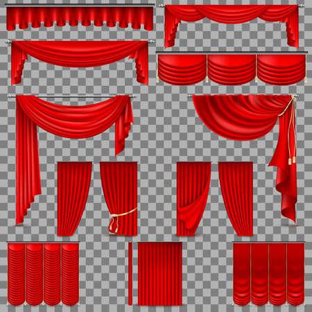 Conjunto de lujo de cortinas de seda de terciopelo rojo. EPS 10 Foto de archivo - 81065064