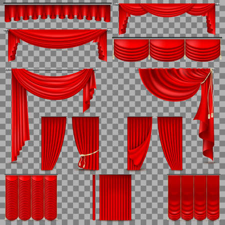 Luxury set of red velvet silk curtains. EPS 10 Illustration