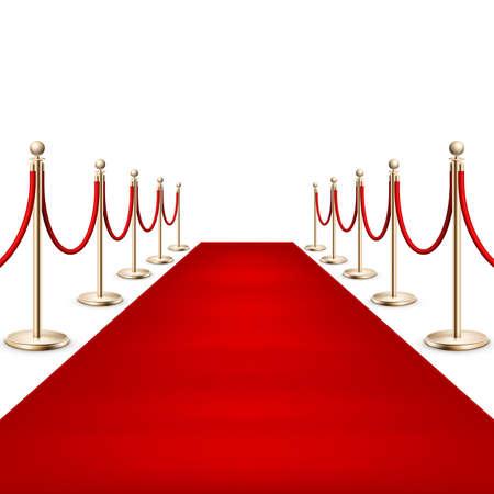 Realista alfombra roja entre las barreras de cuerda. EPS 10 Foto de archivo - 81085583