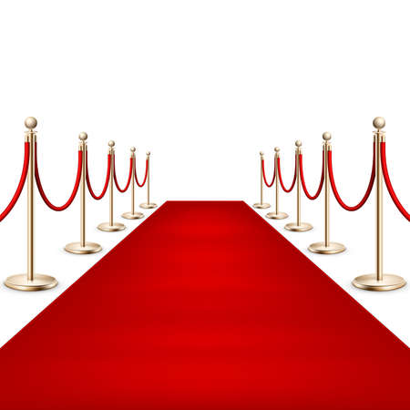 Realistic Red carpet between rope barriers. EPS 10 Vettoriali