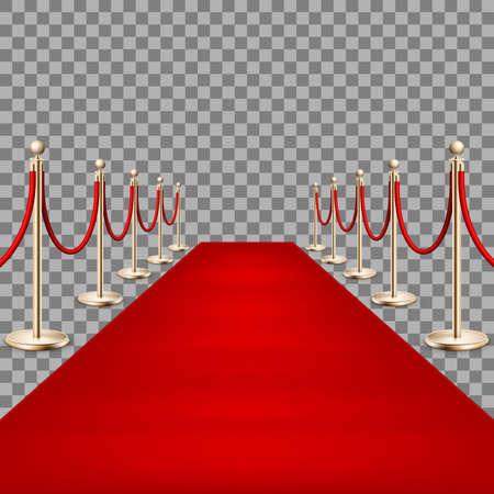 Realistisch rood tapijt tussen touwbarrières. EPS 10 Vector Illustratie