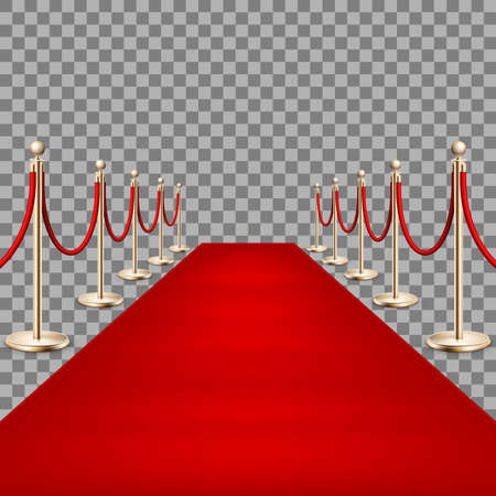 Realistic Red carpet between rope barriers. EPS 10 Illustration