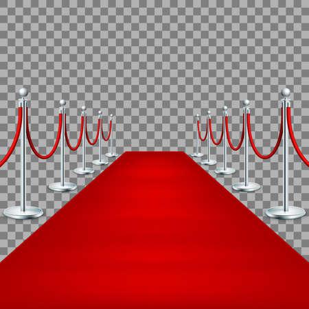 prestige: Realistic Red carpet between rope barriers.