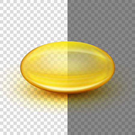 Translucent soft gel capsule object. Fish oil. And also includes EPS 10 vector