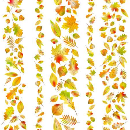 Set of seamless borders from autumn leaves. EPS 10 vector Illusztráció