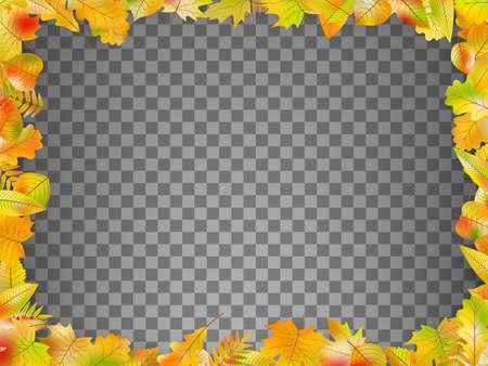 Autumn leaves frame isolated. EPS 10 vector