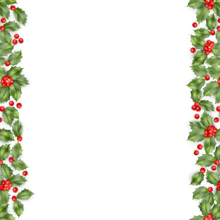 seamless border from christmas holly berry eps 10 vector royalty