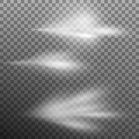 공기가 많은 물 스프레이 안개 세트입니다. 분무기 안개 어두운 투명 한 배경에 고립입니다. 통풍이 잘되는 스프레이 및 물이 낀 안개. 또한 EPS 10 벡터  일러스트