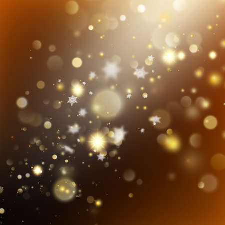 New year and Xmas Defocused Background With Blinking Stars. Christmas golden holiday glowing backdrop. And also includes EPS 10 vector