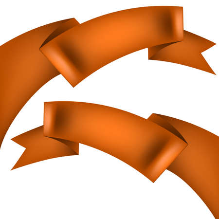 Set of orange ribbons, banner isolated on white background. And also includes EPS 10 vector