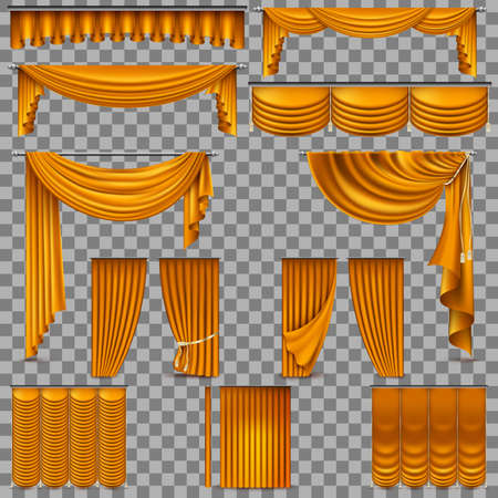 Luxury set of golden velvet silk curtains. Isolated on transparent background. And also includes EPS 10 vector