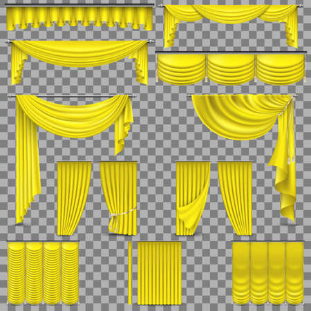 Luxury set of yellow velvet silk curtains. Isolated on transparent background. Illustration