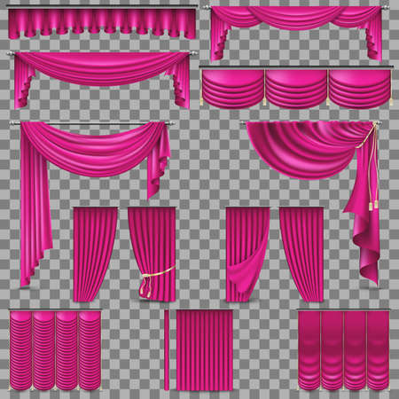 Luxury set of golden velvet silk curtains. EPS 10. Illustration