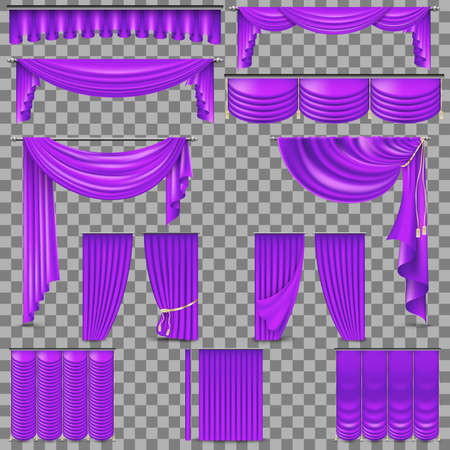 Luxury set of purple velvet silk curtains. Isolated on transparent background. And also includes  vector Illustration