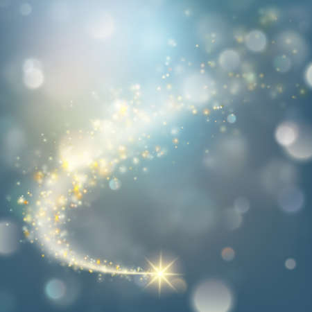 Spiral trail with bokeh effect shooting star christmas background.