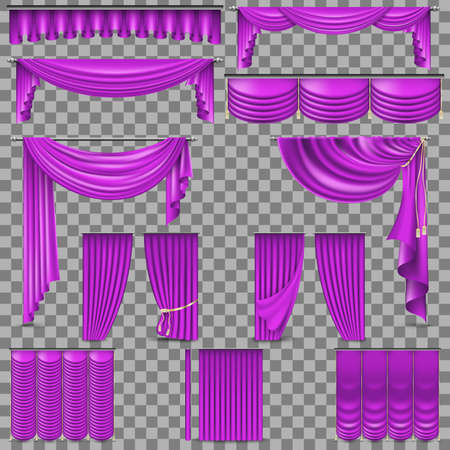Luxury set of golden velvet silk curtains. Illustration