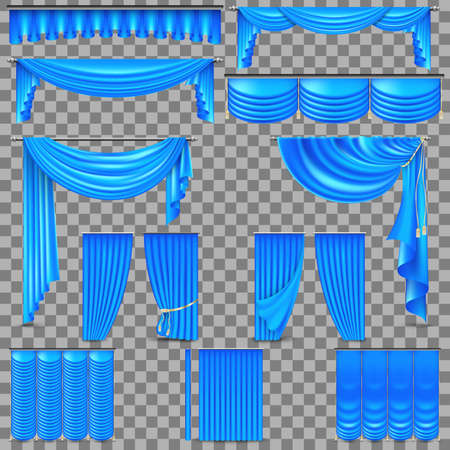 Luxury set of blue velvet silk curtains. Isolated on transparent background. And also includes EPS 10 vector Illustration