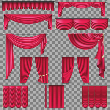 Luxury set of golden velvet silk curtains. EPS 10