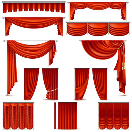 Curtains and draperies interior decoration object. Isolated on white for theater stage. And also includes EPS 10 vector