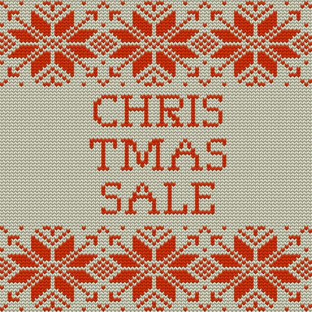 Knitted Christmas sale template banner. And also includes EPS 10 vector
