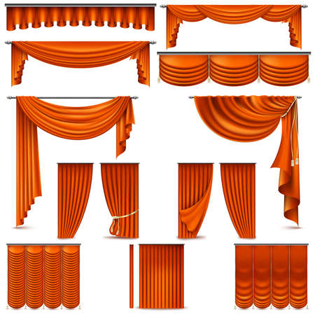 Curtains and draperies interior decoration object. Isolated on white for theater stage. Illustration