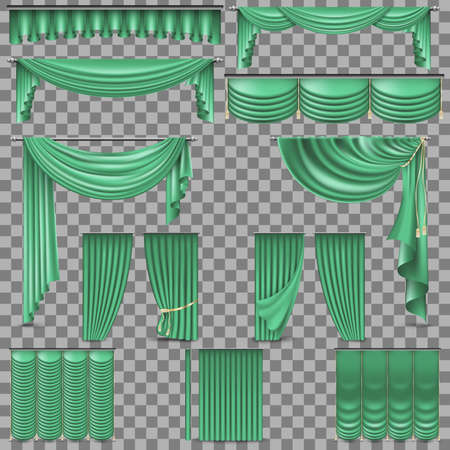 Luxury set of green velvet silk curtains. Isolated on transparent background. And also includes EPS 10 vector