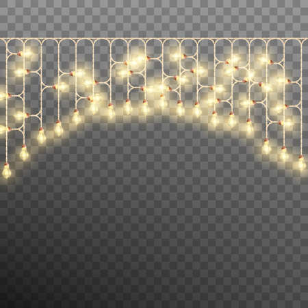 Electric Decorate Christmas tree garland. New Year, holiday, Christmas or party template.