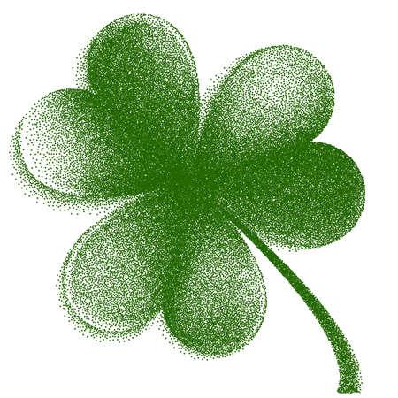Engraving Happy St. Patrick Day trifolium clover.