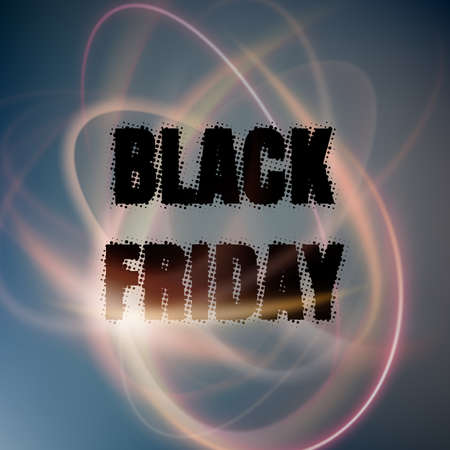 Black Friday poster with abstract lights. Illustration