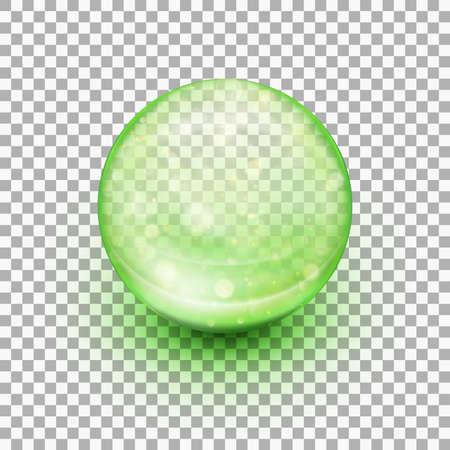 Transparent  round soft gel capsule.