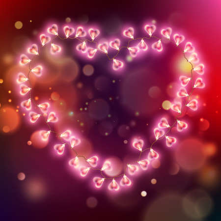 Glowing pink hearts in abstract background
