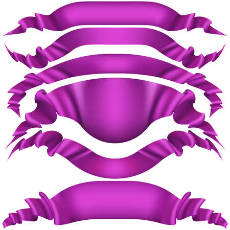 Purple satin ribbons set isolated