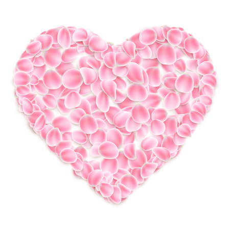 Pink sakura petals in heart shape on white background.
