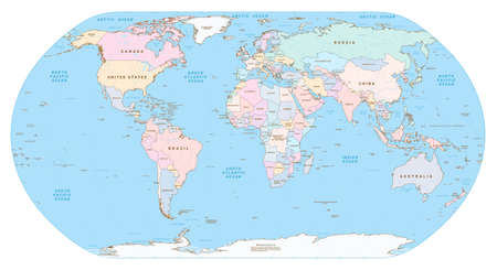 Highly detailed political World map. EPS 10 vector