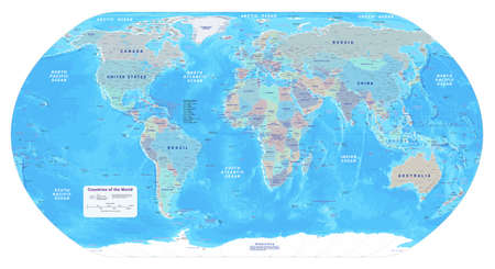 Highly detailed political World map.