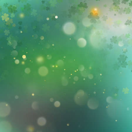 Abstract bokeh blur template with  clovers.