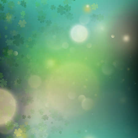 Abstract bokeh blur template with - trifolium clovers. Happy Saint Patrick s Day backdground. And also includes EPS 10 vector Illustration