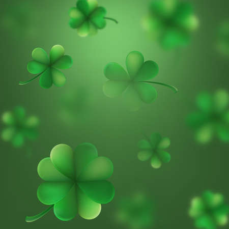 St. Patrick s Day shamrocks blur effect. And also includes EPS 10 vector Banco de Imagens - 92279229