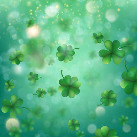 Abstract bokeh blur template with trifolium clovers.