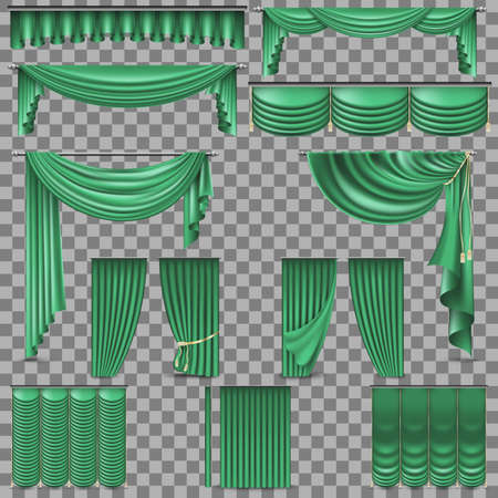Luxury set of green velvet silk curtains. Isolated on transparent background. Vector illustration.