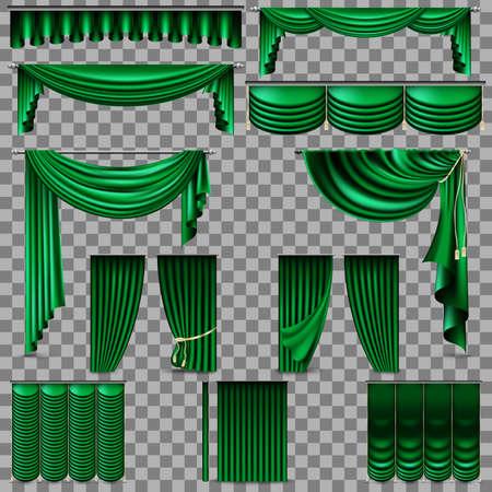 Luxury set of golden velvet silk curtains. Stock Vector - 92551168