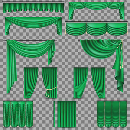 Luxury set of golden velvet silk curtains illustration.