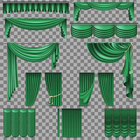 Luxury set of golden velvet silk curtains. EPS 10 Stock Vector - 92546392