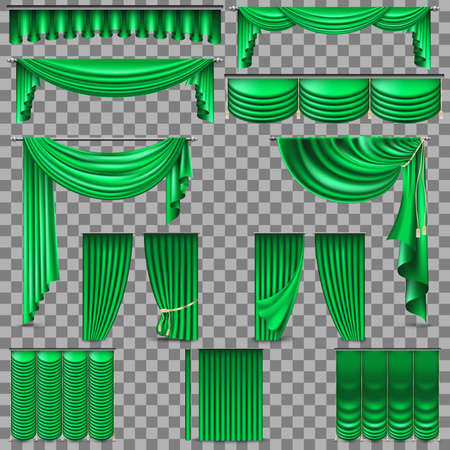 Luxury set of green velvet silk curtains isolated on transparent background. Illustration