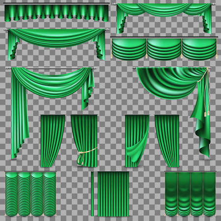 Luxury set of green velvet silk curtains. Isolated on transparent background.